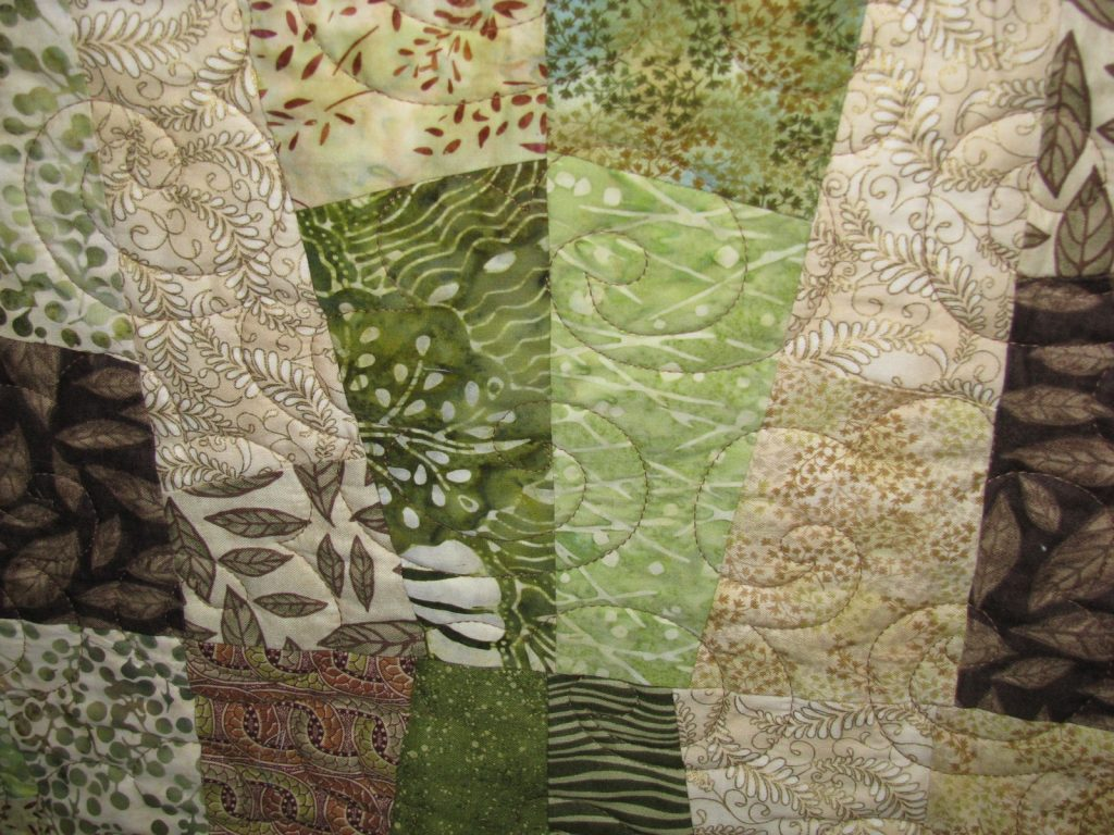 Hokey Pokey quilt pattern by A Quilters Dream, front detail showing quilting.