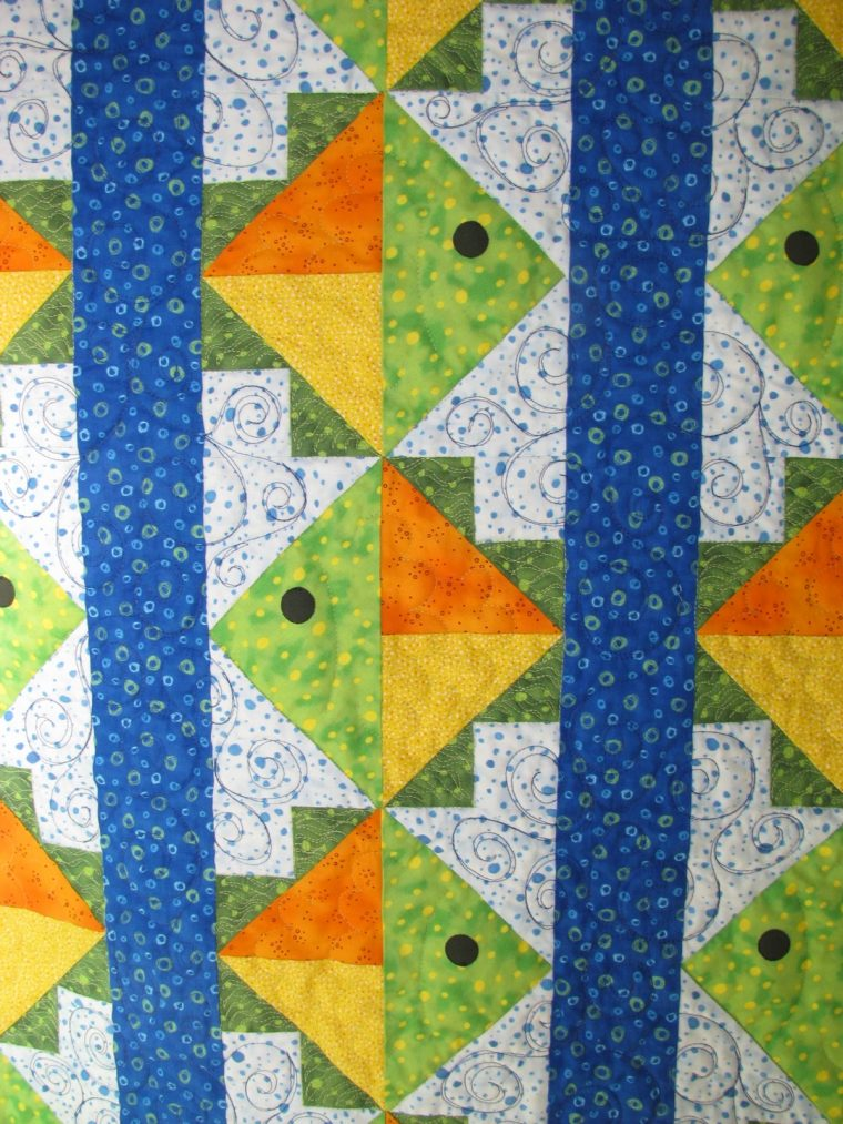 Flying Fish Quilt by Jean Ann Wright, Fish with quilting closeup
