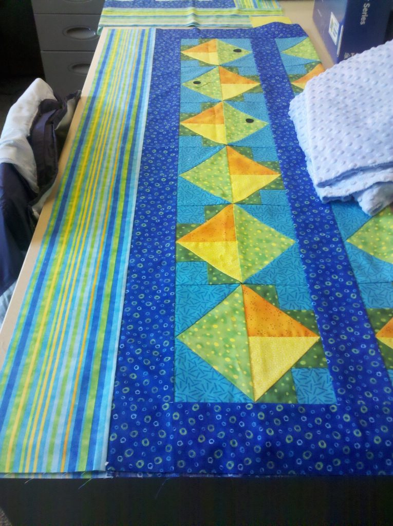 Flying Fish Quilt by Jean Ann Wright, Dark Background top - where to put the eyes?!