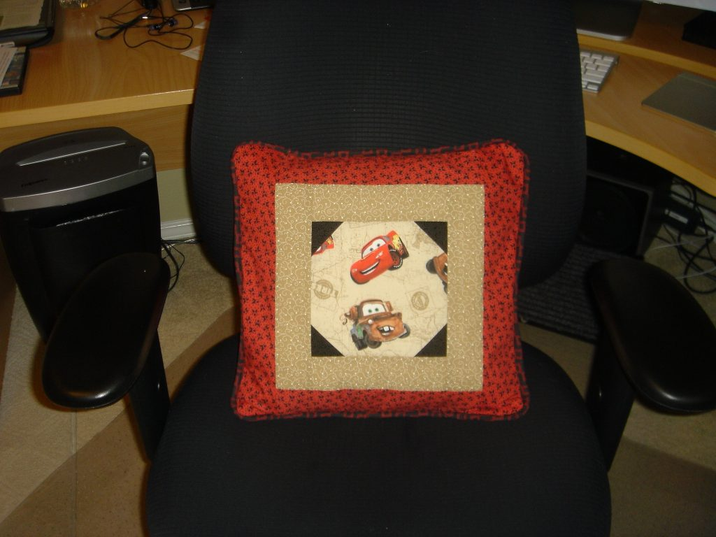 Coordinating 'Cars' pillow front