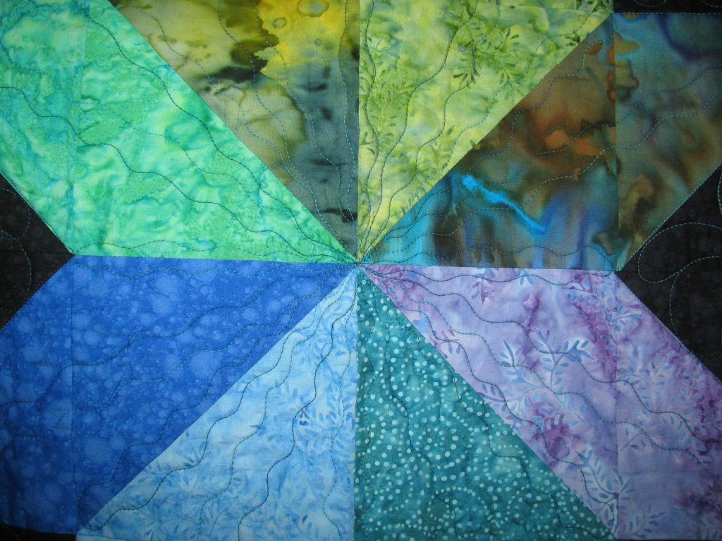 Cosmic Jewels (carpenter star), Quilt center detail