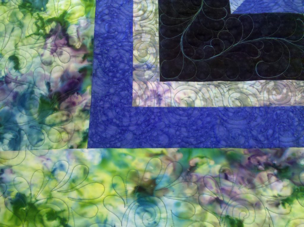 Cosmic Jewels (carpenter star), Corner custom quilting detail