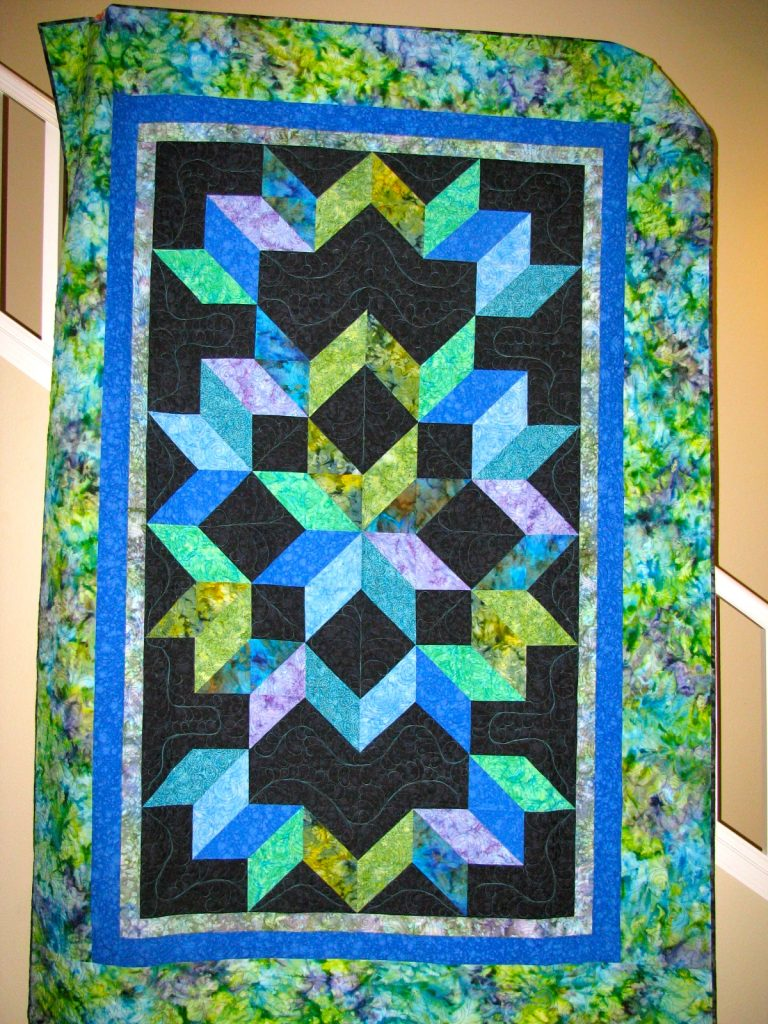 Cosmic Jewels (carpenter star), Dean's finished Quilt