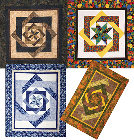 Labyrinth pattern sizes (clockwise from top left - king, lap, twin, queen)