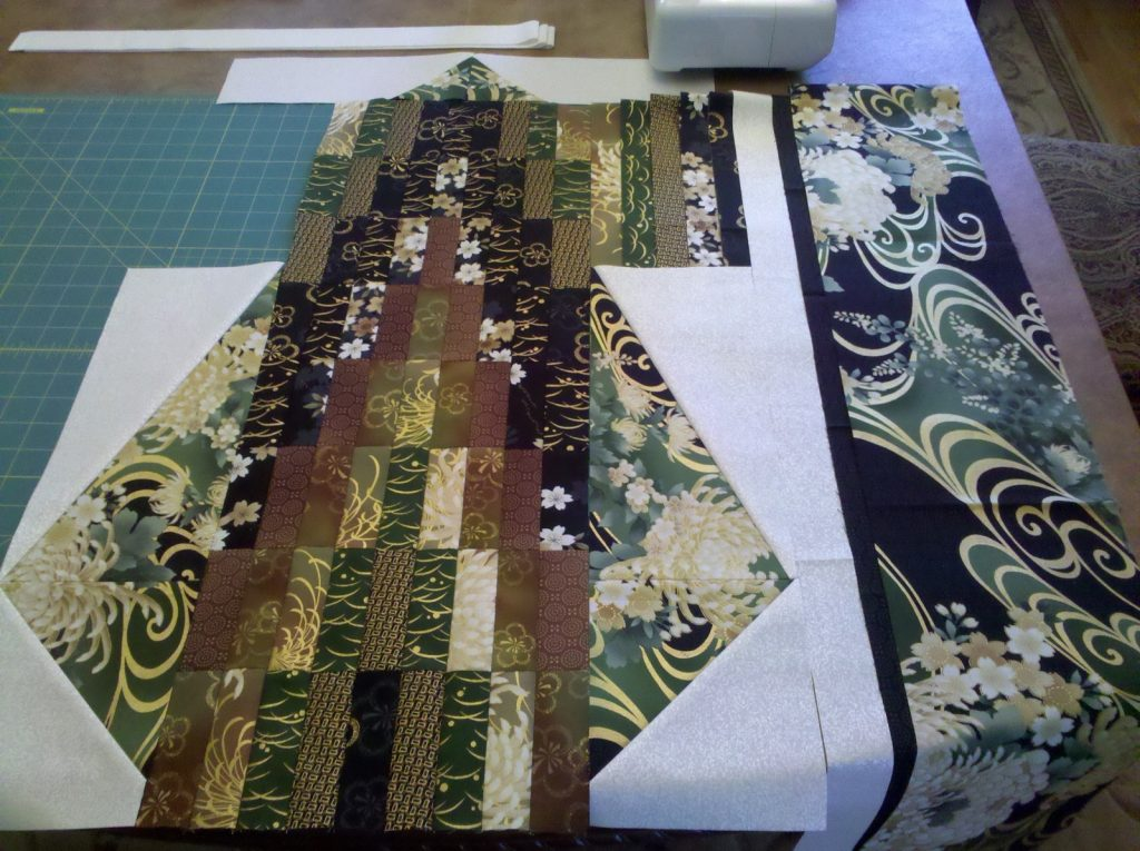 Bargello Kimono quilt by Diane McGregor of Castilleja Cotton, Laying out the pieces