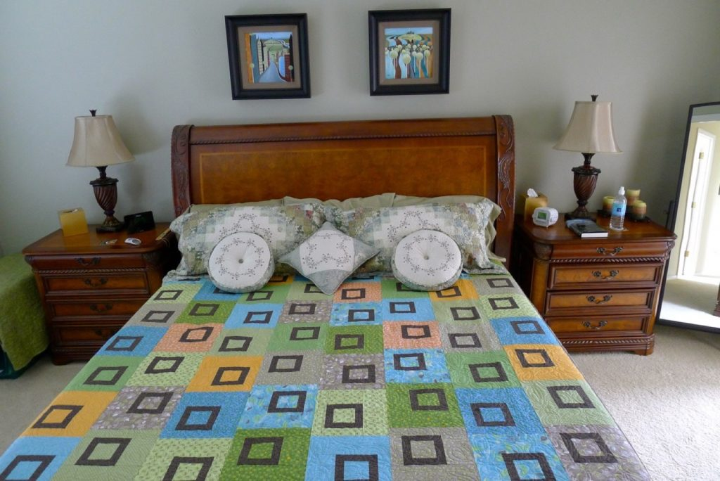 New quilt Sweet Pea by Heather Mulder Peterson of Anka's Treasures - Old storebought shams