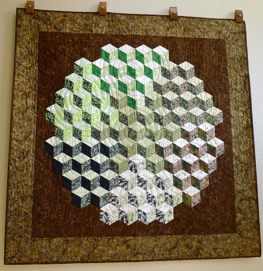 Tumbling Blocks quilt, Finished quilt