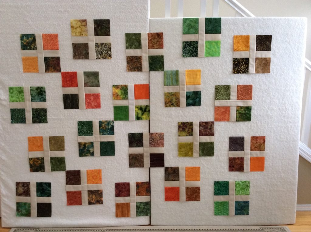 Square Dance quilt pattern by Konda Luckau, Laying out the blocks