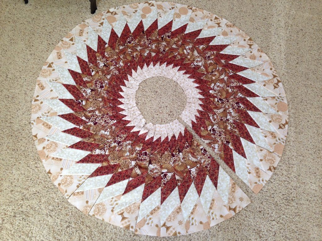 Quilted Christmas tree skirt, Slices all cut out