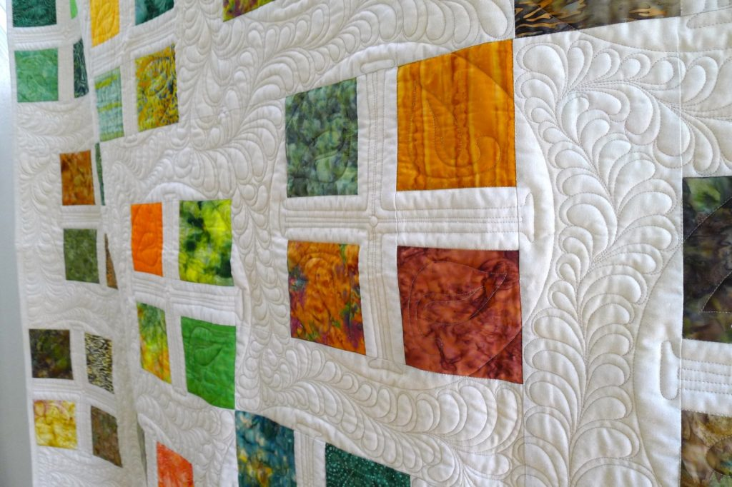 Square Dance quilt pattern by Konda Luckau, Finished quilt closeup 2