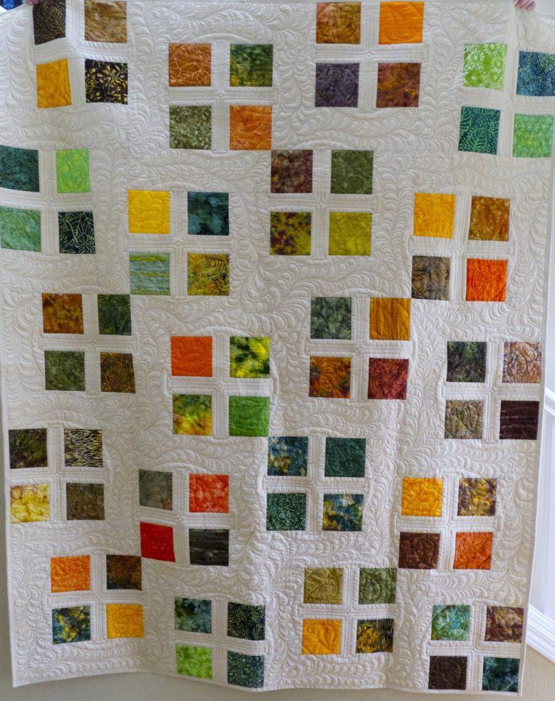 Square Dance quilt pattern by Konda Luckau, Finished quilt