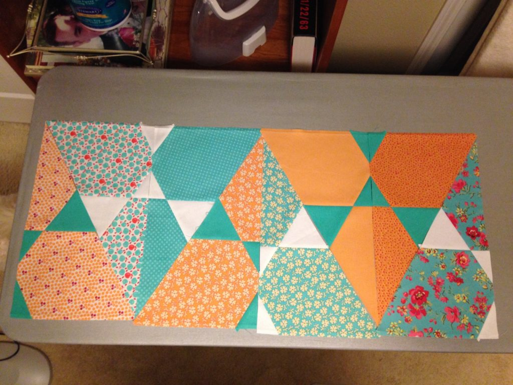 Using clipped pieces from Lotus quilt for Candy Dish pillow backs by Jaybird