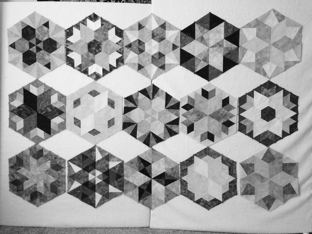 Park Bench by Jaybird Quilts - block layout b+w