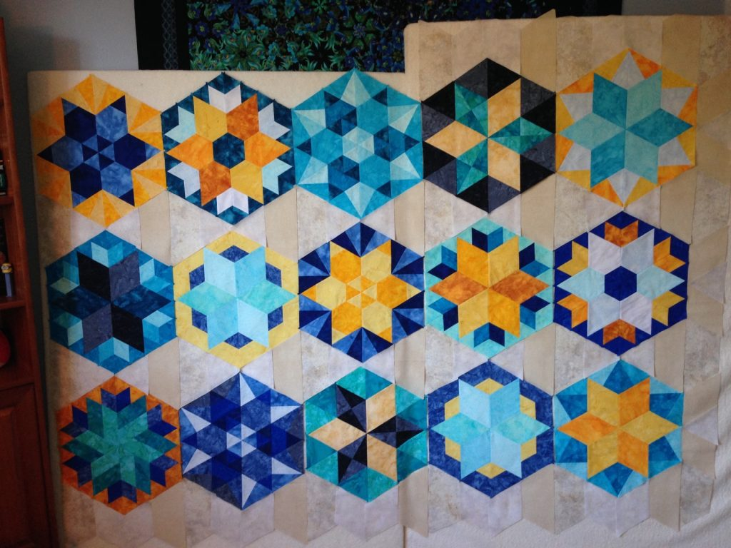 Park Bench by Jaybird Quilts - adding the background