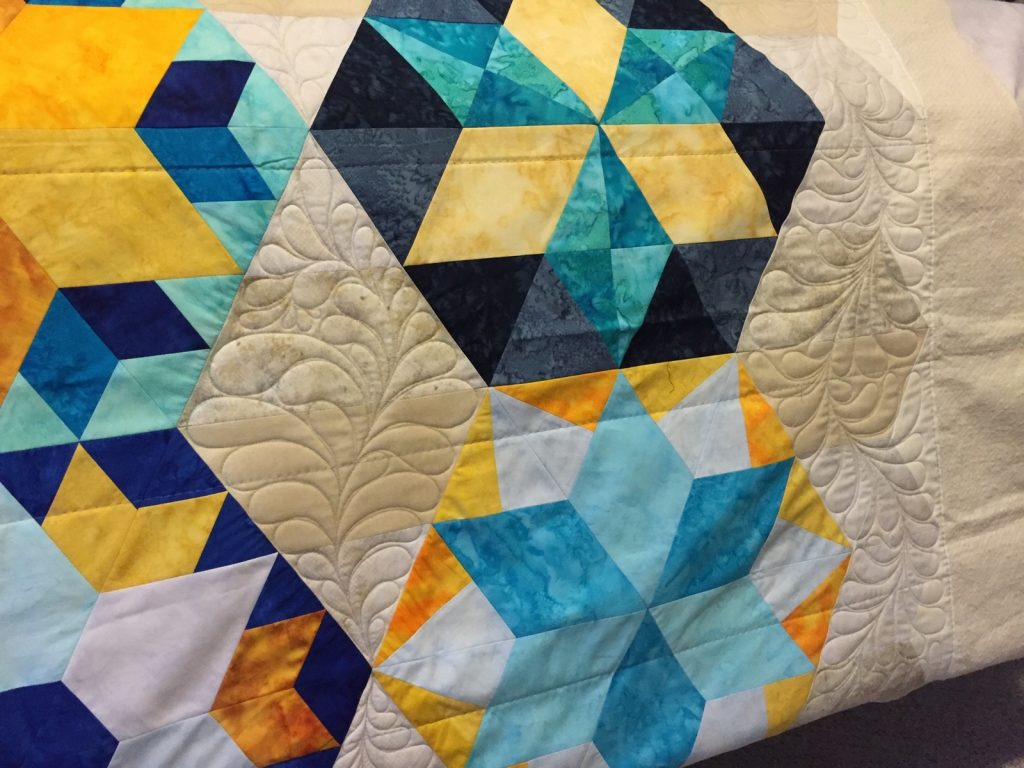 Park Bench by Jaybird Quilts - Background Feathers