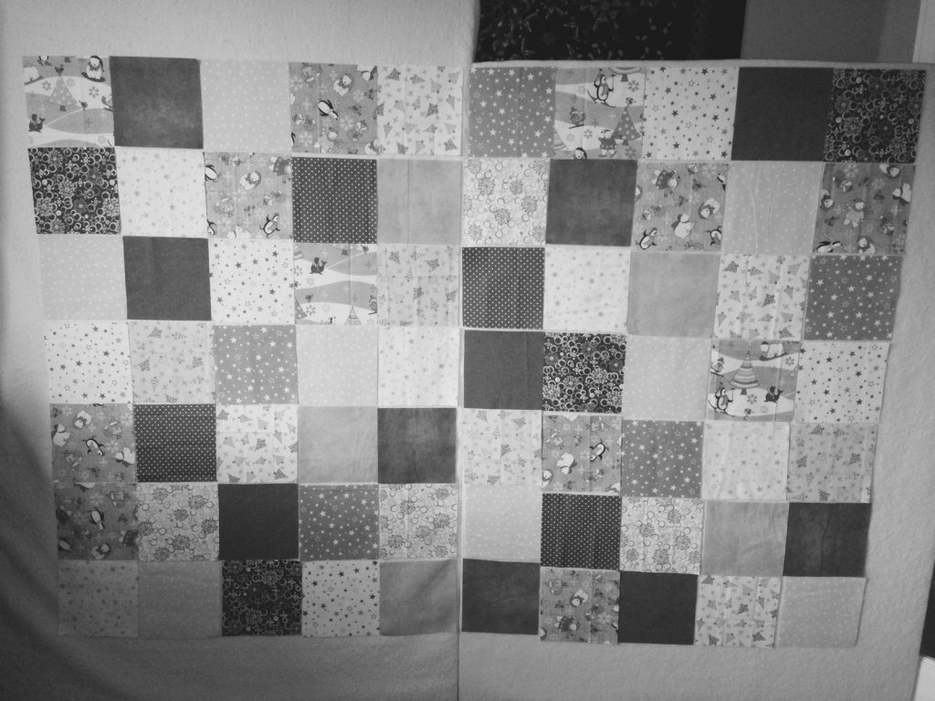 Laying out the flannel squares b+w