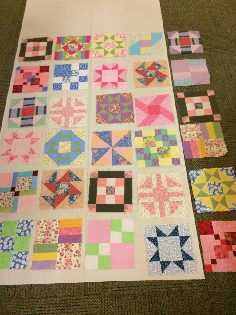 Tracie's quilt, block layout day