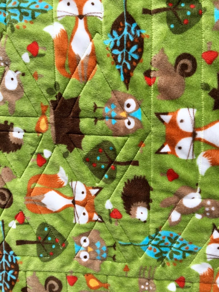 Finished minky back detail of Fox and Friends quilt by Sew Fresh Quilts