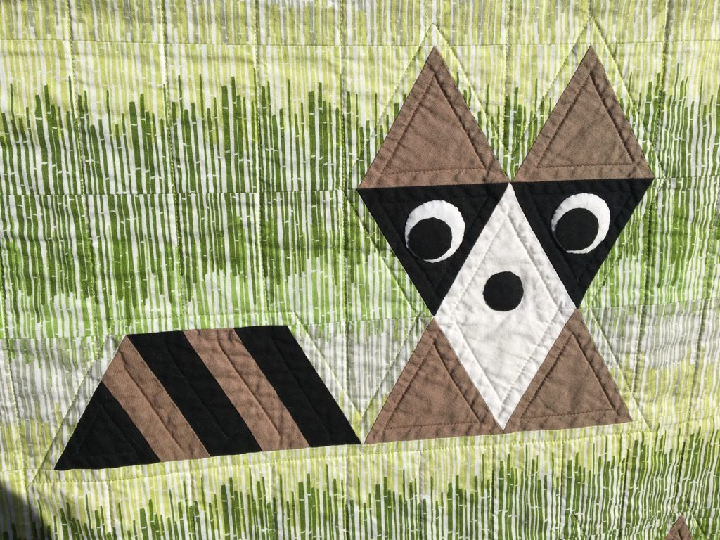 Finished Raccoon detail of Fox and Friends quilt by Sew Fresh Quilts