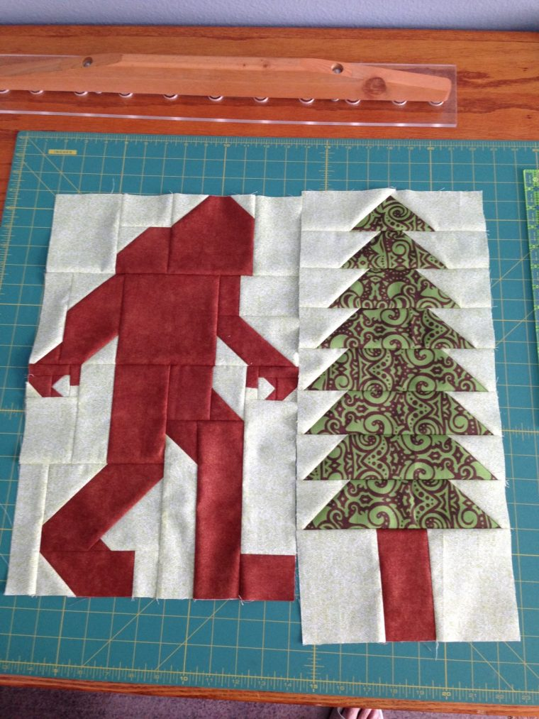 Bigfoot and tree block for Legendary quilt