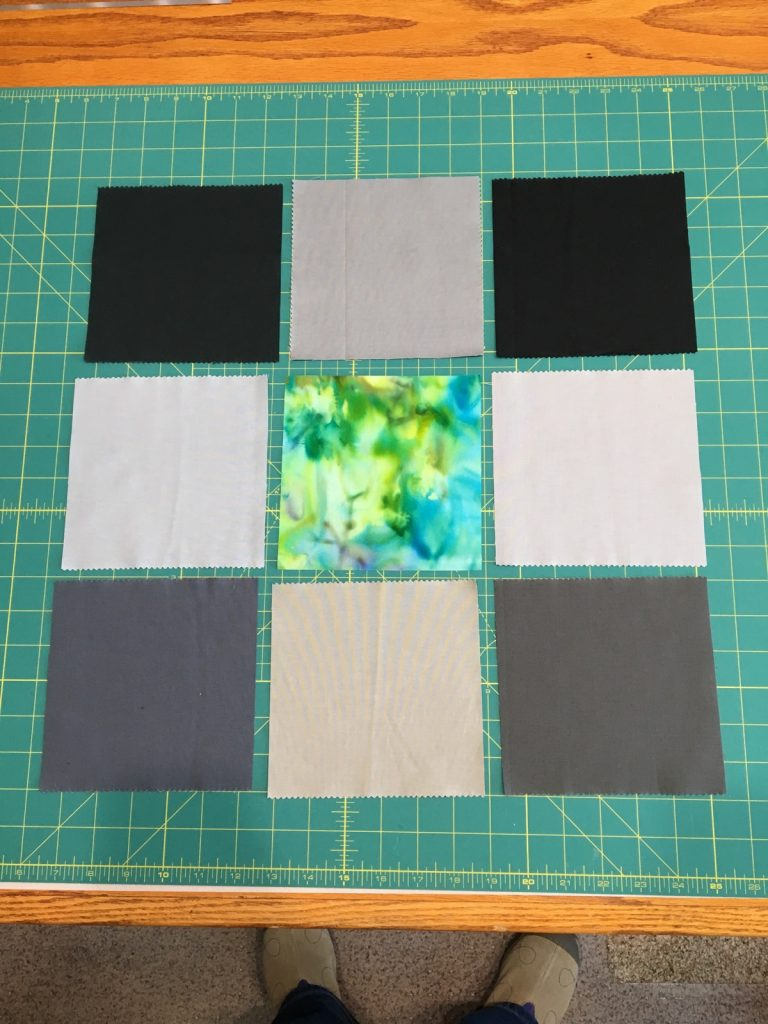 Step 1 - 9 squares the same size