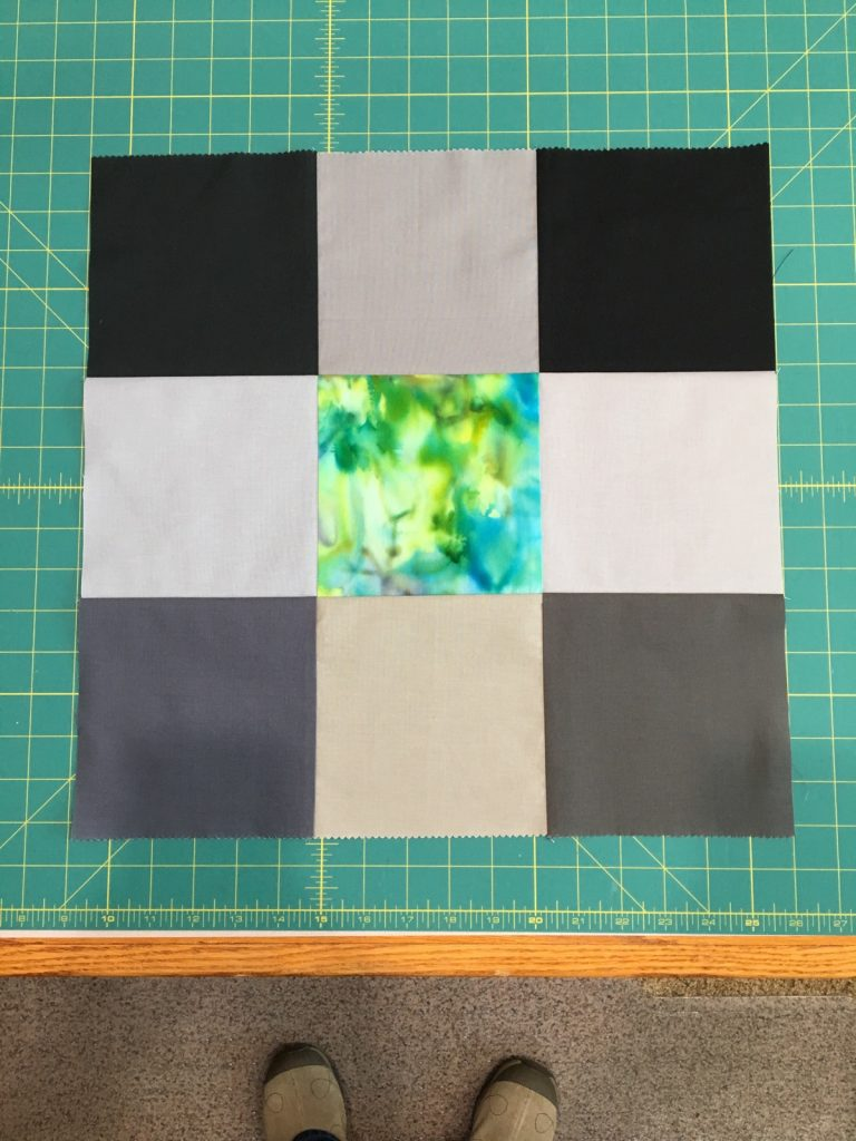 Step 2 - 9 squares sewn together