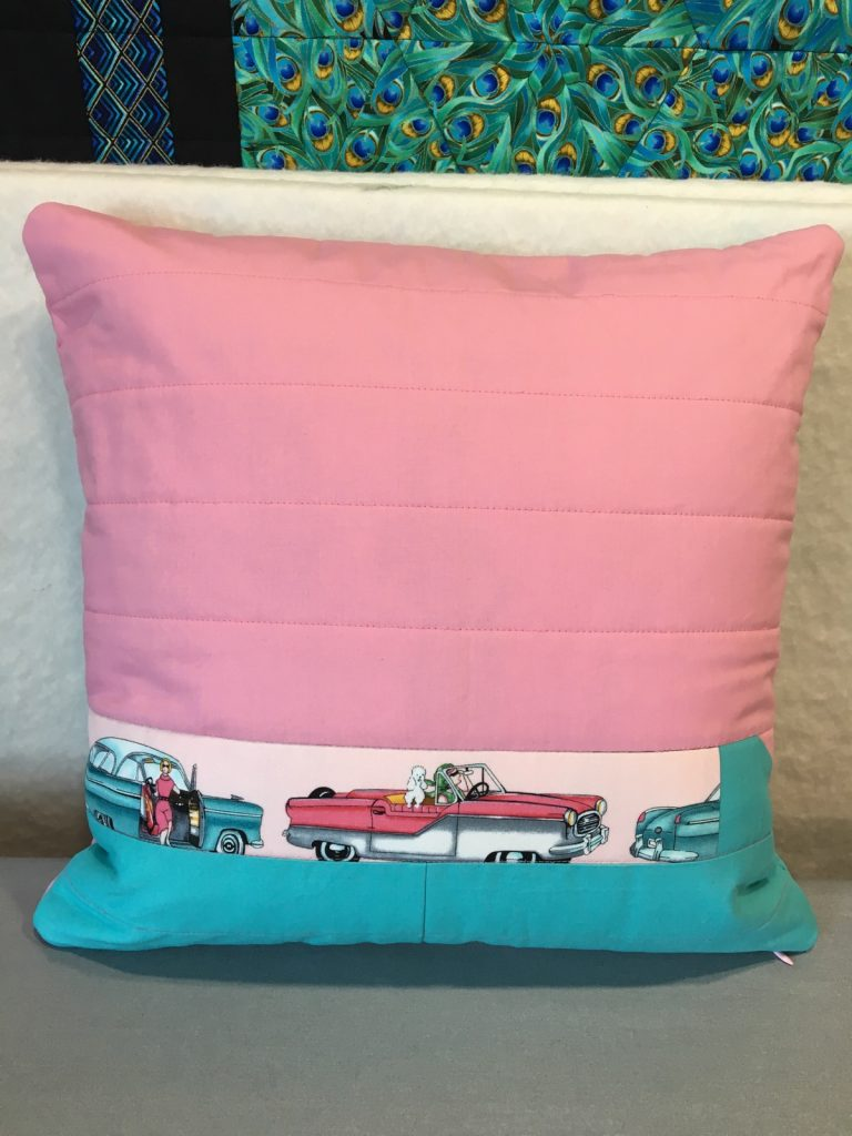 Finished pink poodle pillow back