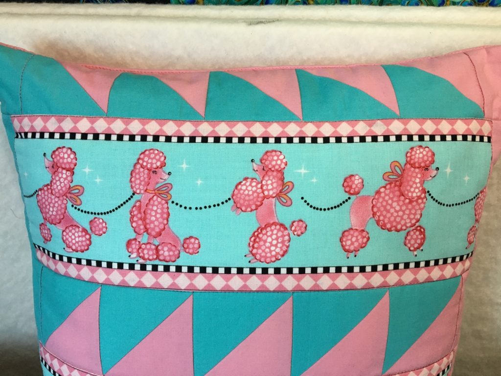 Finished pink poodle pillow front detail