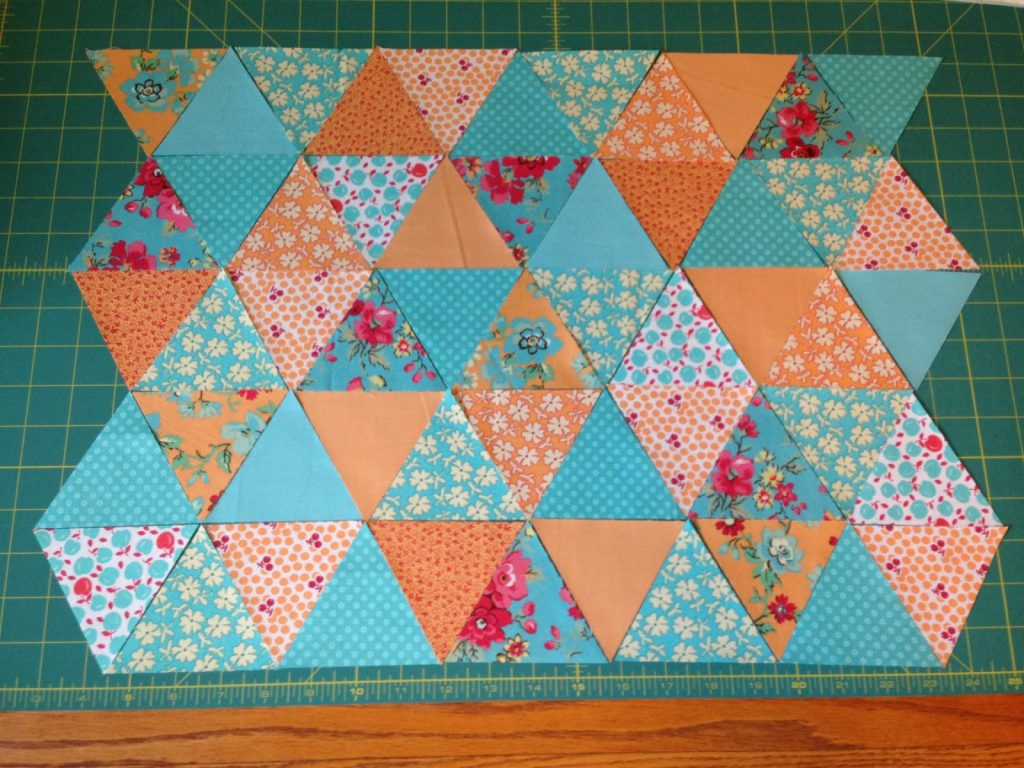 Leftover triangles for pillow back