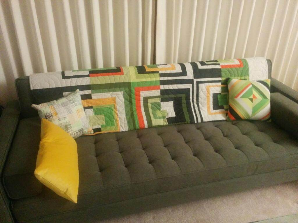 Quilt and pillows in their new home