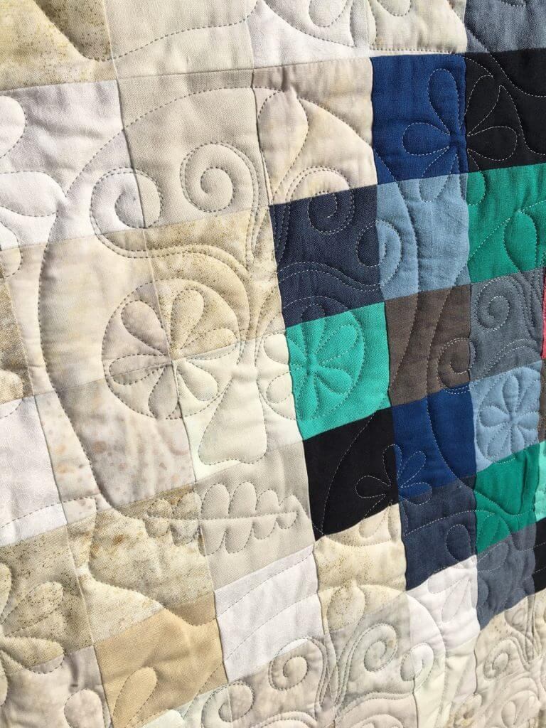 Mary's sugar skull quilt detail