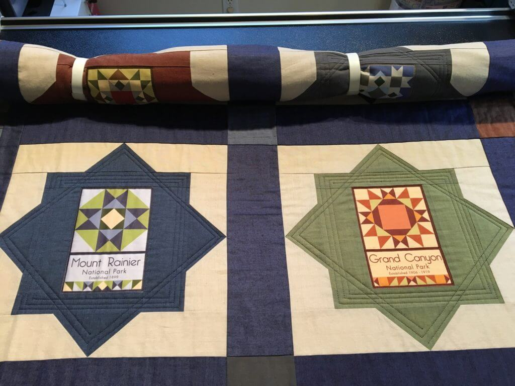 National Park quilt loaded on Susan's longarm
