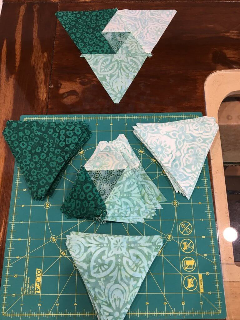 Trail Mix blocks being pieced